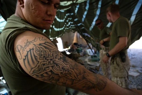It 39 s not an order marines get to wear 39 sleeves up for Marine tattoo sleeves
